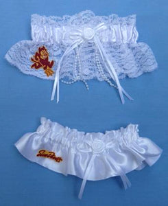Arizona St. University wedding garter set bridal garters ASU Sun Devils State Sparky lace satin Fun Wedding Things