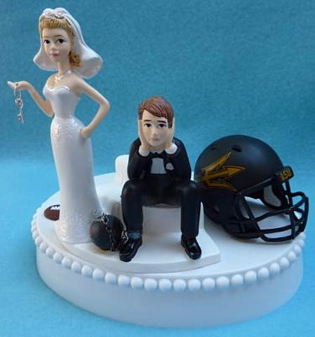 ASU Sun Devils football wedding cake topper humorous bride dejected groom ball chain key sports fans fun helmet ball Fun Wedding Things