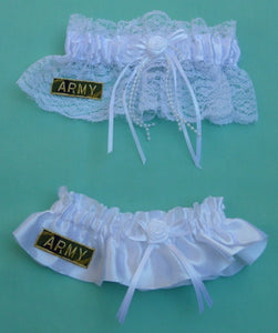 Army wedding garter U.S. military bridal garter set enlisted service reception Fun Wedding Things keepsake toss