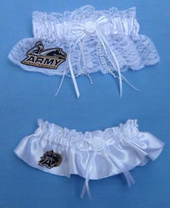 Army Black Knights wedding garter set bridal garters USMA US Army toss keep Fun Wedding Things