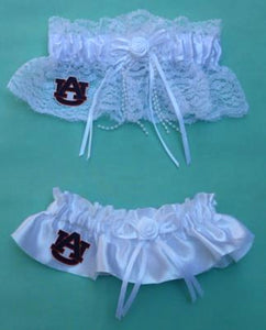 Auburn University wedding garter set bridal garters Tigers AU lace satin toss Fun Wedding Things