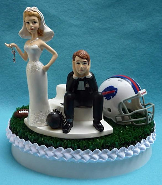 Buffalo Bills wedding cake topper NFL football sports fans ball and chain bride and groom humorous funny reception gift