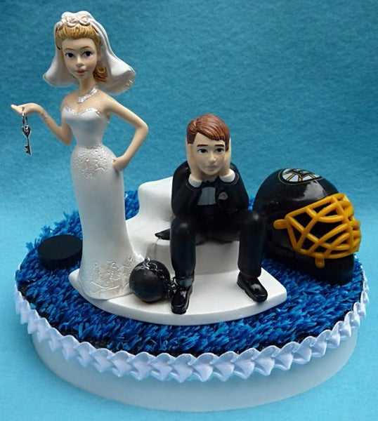 Wedding Cake Topper - Boston Bruins Hockey Themed Key