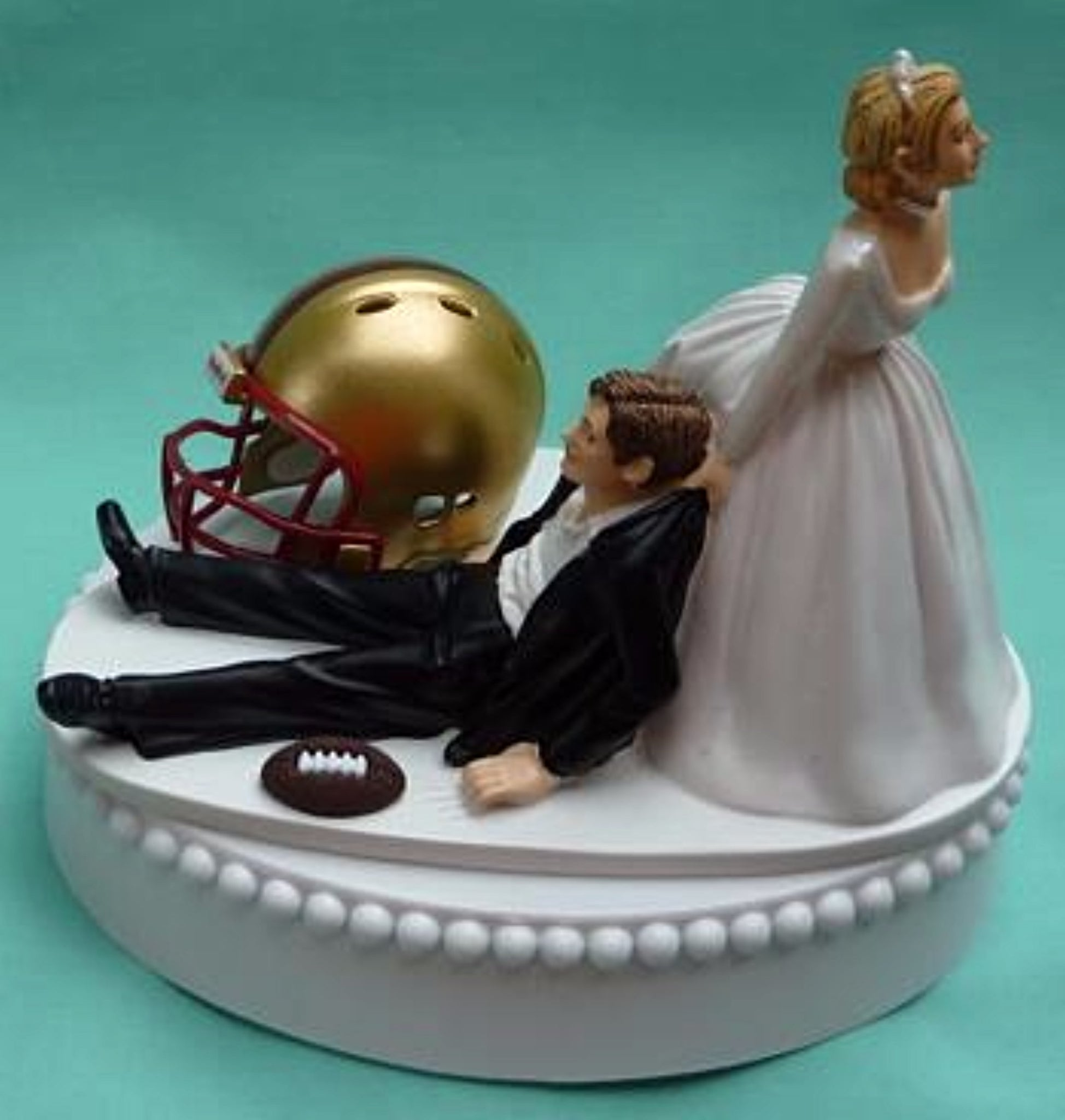 Boston College wedding cake topper BC Eagles football humorous sports fans fun bride drags groom sporty reception gift FunWeddingThings.com