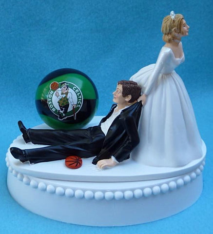 Boston Celtics wedding cake topper NBA basketball bride dragging groom humorous Fun Wedding Things funny groom's cake top reception gift item idea sporty