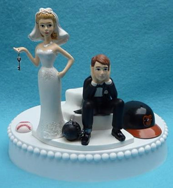 Baltimore Orioles wedding cake topper MLB baseball ball and chain dejected groom humorous bride funny sports fans marriage reception gift item idea
