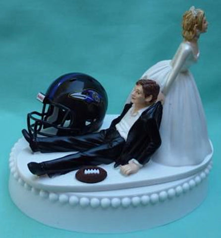 Baltimore Ravens wedding cake topper FunWeddingThings.com football NFL sports fans reception bride dragging groom humorous