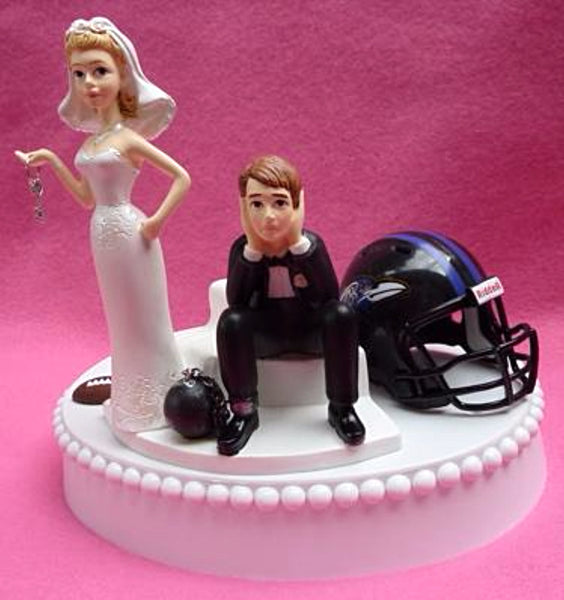 Wedding Cake Topper - Baltimore Ravens Football Themed Key