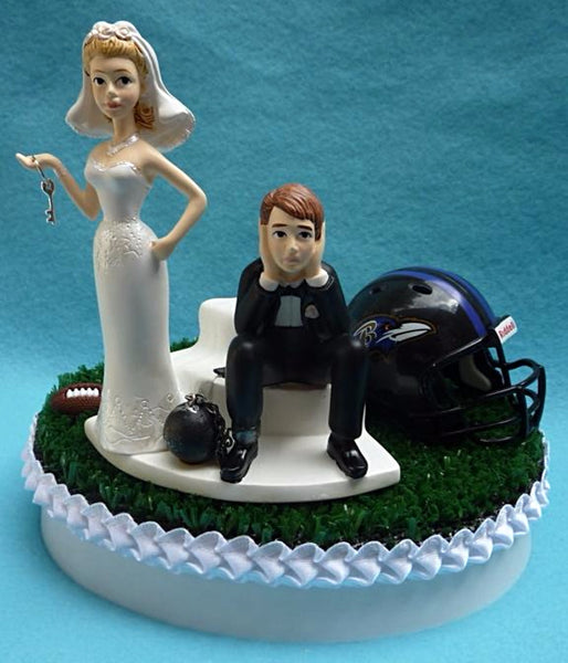 Baltimore Ravens wedding cake topper NFL football fans bride dejected groom humorous funny reception gift item idea