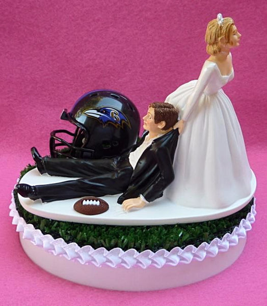 Baltimore Ravens cake topper Turf top Groom's reception football humorous
