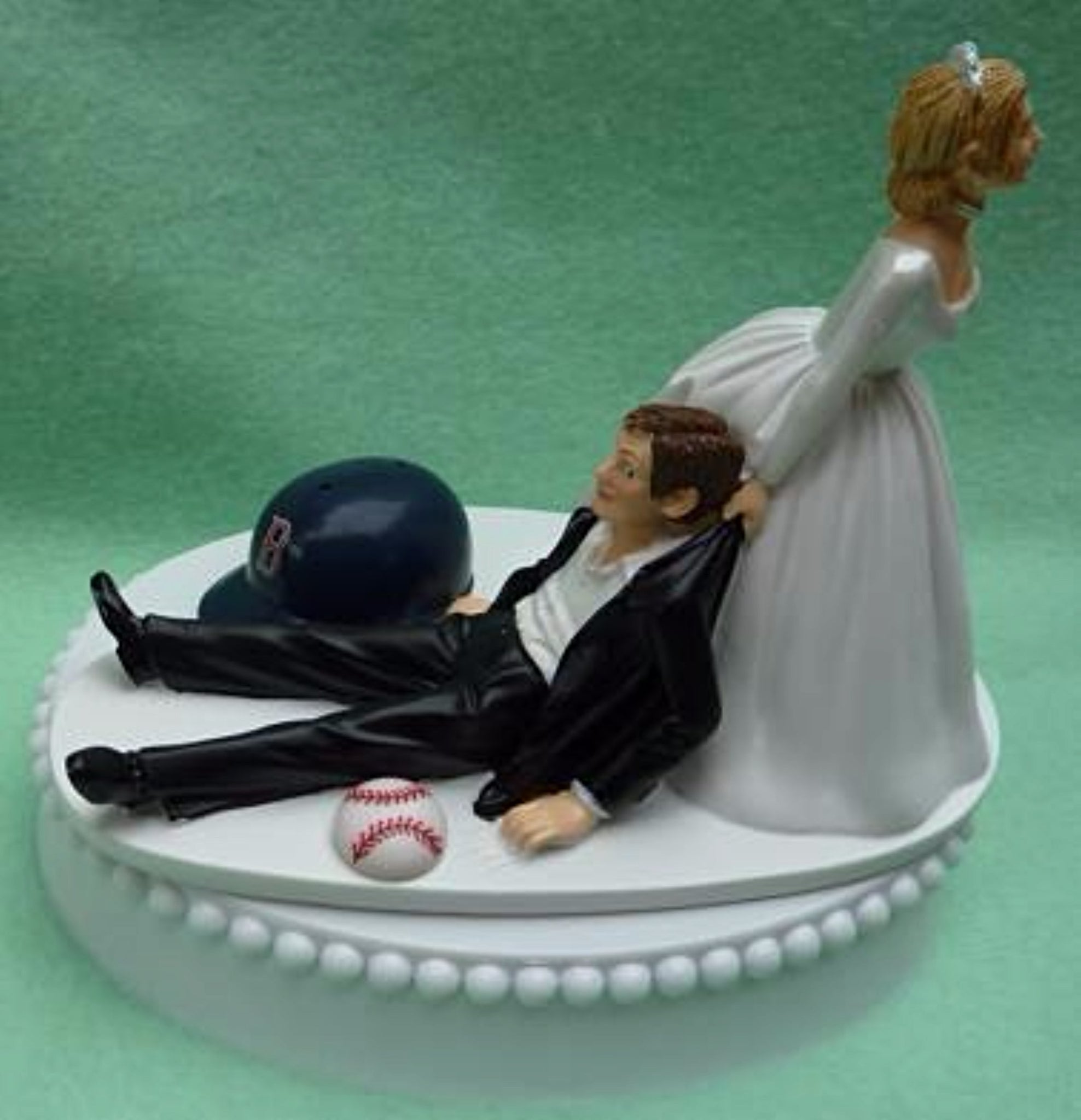 Red Sox wedding cake topper Boston baseball MLB groom's cake top green turf humorous funny reception