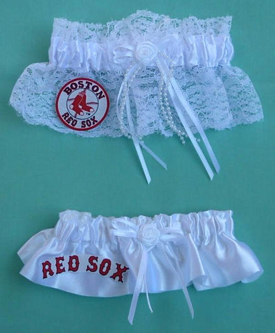 Boston Red Sox Garter Wedding Garters Bridal Set MLB Baseball Sports Fans Fun Reception
