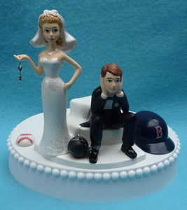 Wedding Cake Topper - Boston Red Sox Baseball Themed Key
