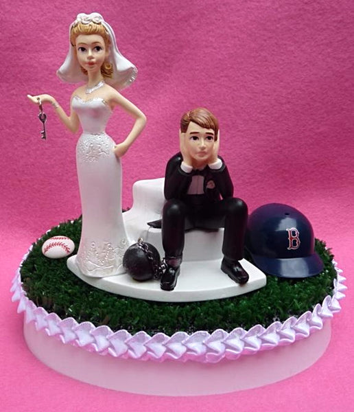 Boston Red Sox wedding cake topper MLB baseball sports fans fun bride dejected groom ball chain key humorous funny