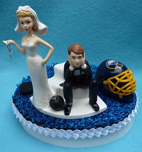 Buffalo Sabres wedding cake topper NHL hockey sports fans fun bride groom dejected humorous Fun Wedding Things reception
