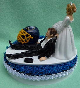 Buffalo Sabres cake topper wedding groom's cake top NHL hockey sports fans bride dragging groom humorous funny Fun Wedding Things
