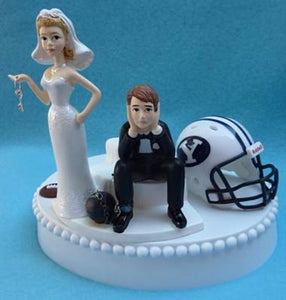 BYU wedding cake topper Brigham Young University Cougars football humorous bride sad groom ball chain key sports fans funny Fun Wedding Things