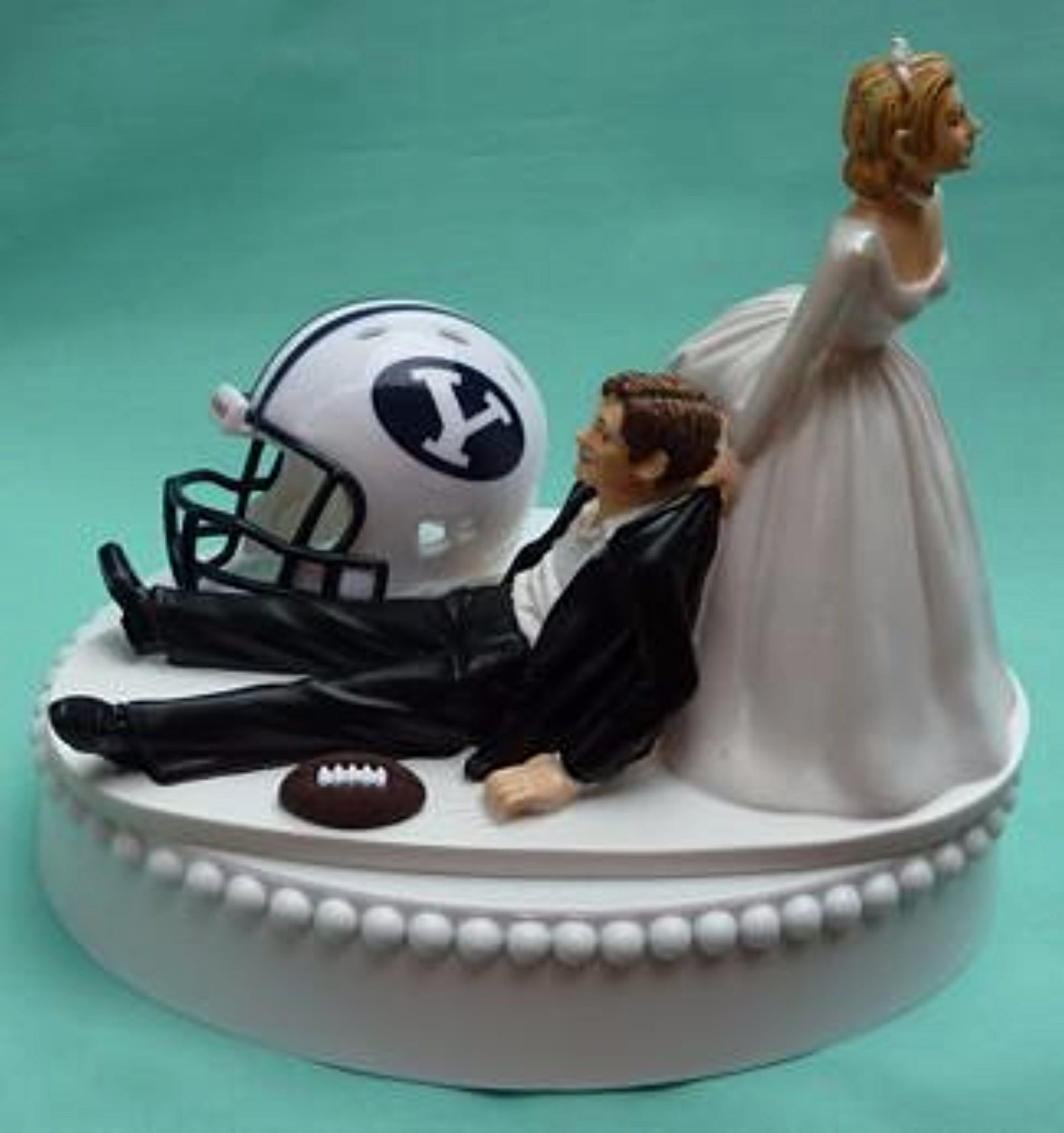 Brigham Young wedding cake topper BYU Cougars University football sports fans funny bride dragging groom humorous Fun Wedding Things reception gift