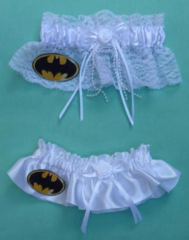 Batman wedding garter superhero bridal garter set lace satin toss keepsake fans Fun Wedding Things reception
