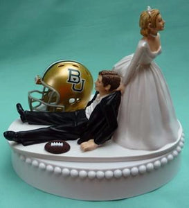 Baylor University wedding cake topper Bears BU football funny sports themed helmet ball bride dragging groom humorous Fun Wedding Things reception gift