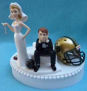 Baylor Bears wedding cake topper BU University football humorous bride dejected groom key ball chain helmet funny sports Fun Wedding Things