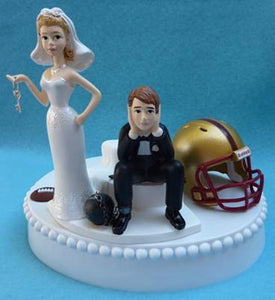 Boston College Eagles wedding cake topper BC football humorous bride sad groom ball chain key helmet funny Fun Wedding Things