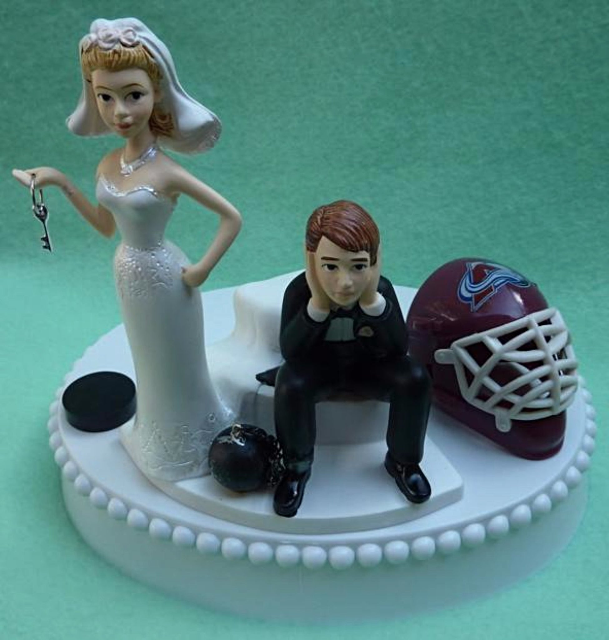 Wedding Cake Topper - Colorado Avalanche Hockey Themed Key Avs