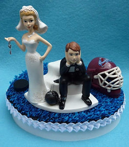 Colorado Avalanche wedding cake topper NHL hockey Avs sports fans fun bride groom humorous puck helmet mask blue ice ball chain key reception gift item idea
