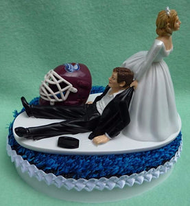 Colorado Avalanche cake topper wedding Avs NHL hockey sports fans funny bride dragging groom's cake top reception humorous Fun Wedding Things blue ice turf
