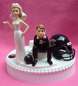 Chicago Bears wedding cake topper sports fans fun bride dejected groom ball and chain key reception gift idea item