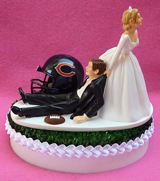 Wedding cake topper Chicago Bears reception bride groom dragging humorous unique funny NFL football