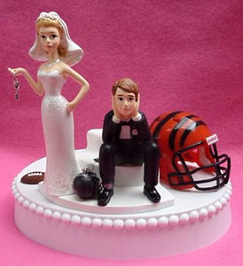 Cincinnati Bengals cake topper wedding football bride groom humorous NFL sports fans funny reception gift