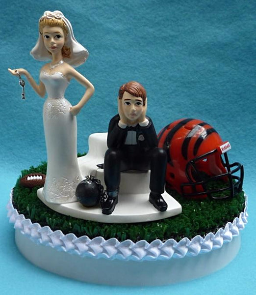 Wedding Cake Topper - Cincinnati Bengals Football Themed Key
