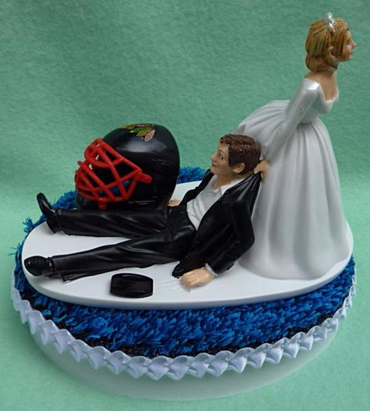 Wedding Cake Topper - Chicago Blackhawks Hockey Themed