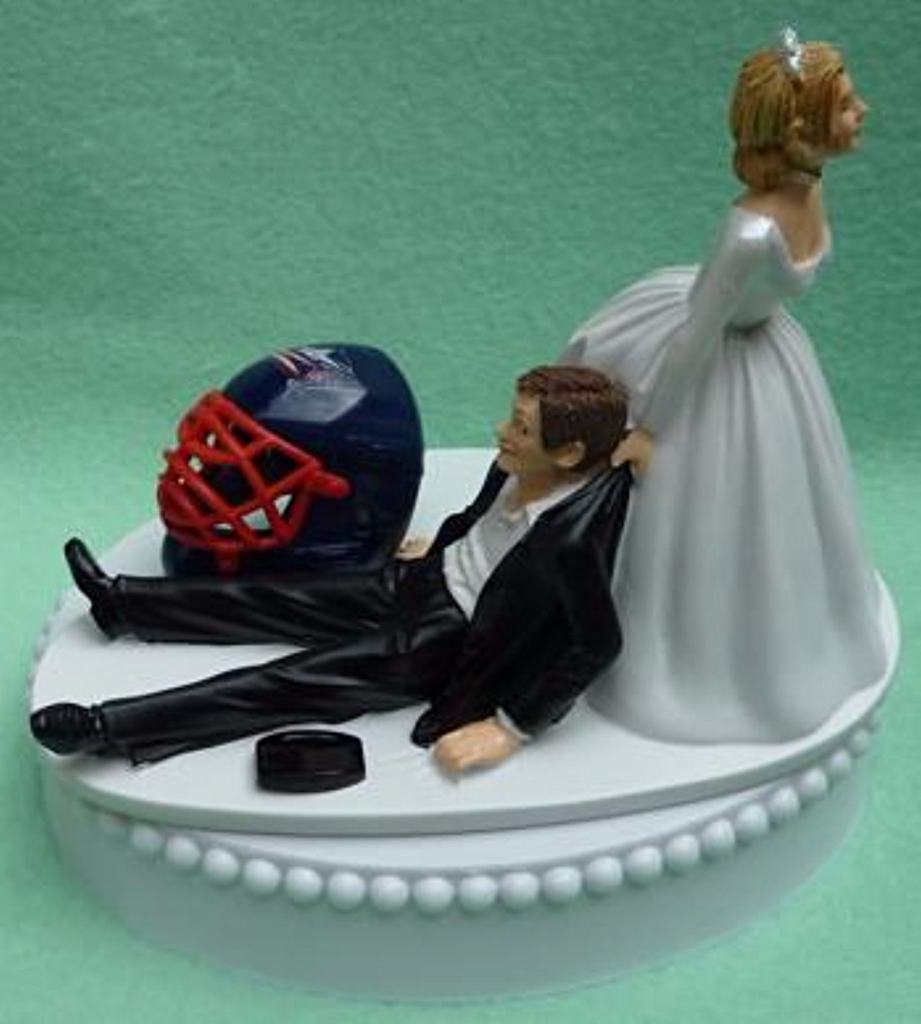 Wedding Cake Topper - Columbus Blue Jackets Hockey Themed
