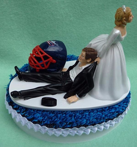 Columbus Blue Jackets cake topper wedding groom's top NHL hockey Bluejackets bride dragging humorous funny Fun Wedding Things