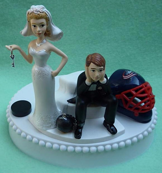 Columbus Blue Jackets wedding cake topper NHL hockey groom's cake top Bluejackets humorous bride dejected groom sports fans fun FunWeddingThings.com