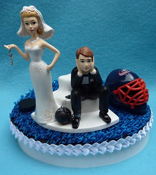 Wedding Cake Topper - Columbus Blue Jackets Hockey Themed Key