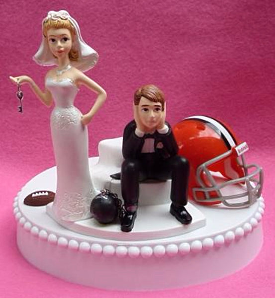 Cleveland Browns cake topper wedding football NFL fans bride groom sports humorous reception gift item ball and chain