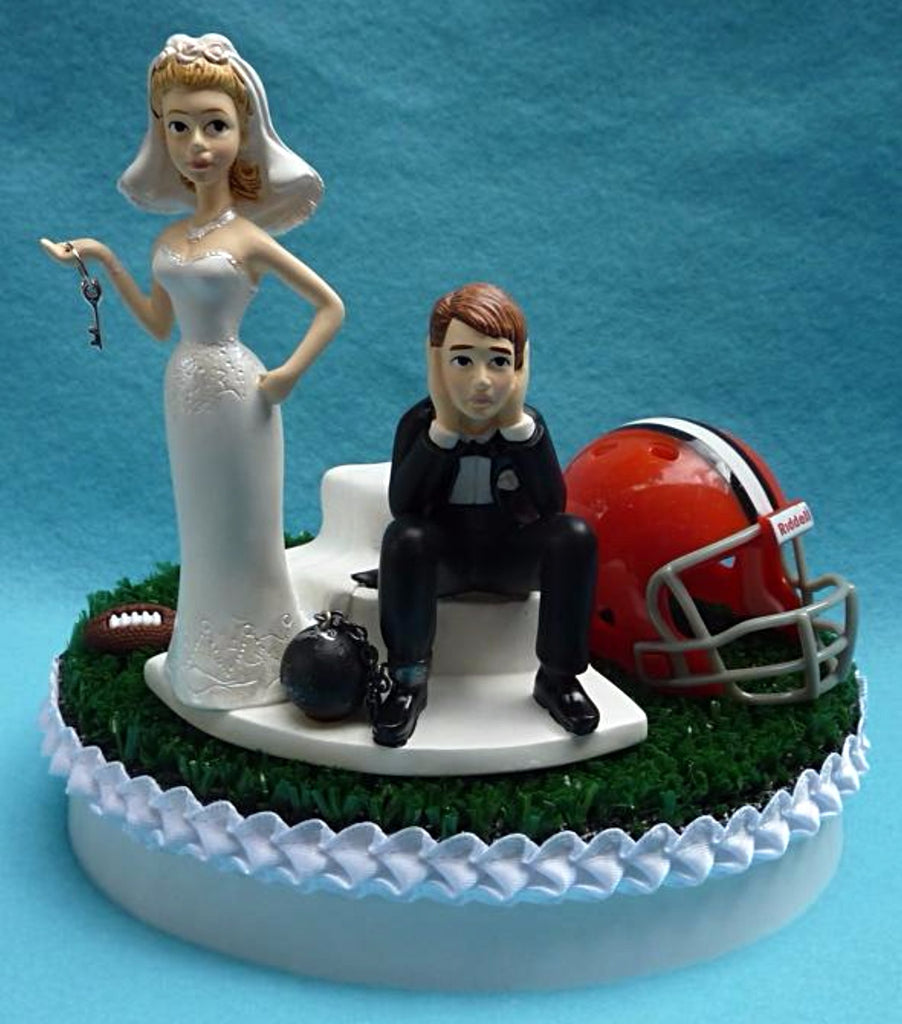 Wedding Cake Topper Cleveland Browns Football Themed Key