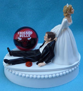 Chicago Bulls wedding cake topper NBA basketball fans bride groom drags humorous funny unique reception gift item idea Fun Wedding Things