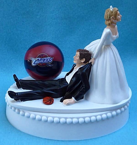 Cleveland Cavaliers wedding cake topper Cavs groom's cake top NBA basketball sports fans funny humorous
