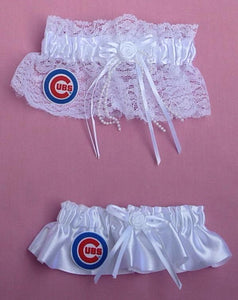 Chicago Cubs garter wedding garters bridal baseball MLB sports fans bride groom Fun Wedding Things reception gift item idea