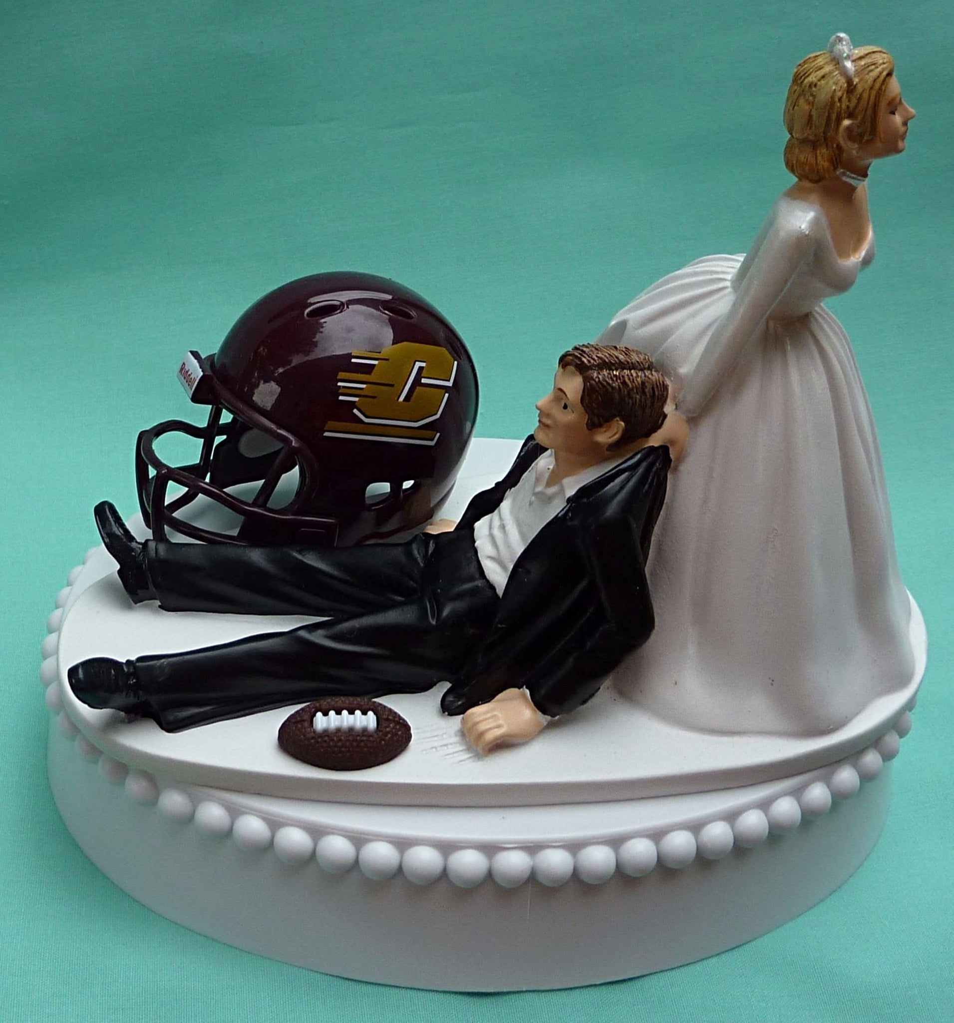 Central Michigan University wedding cake topper CMU Chippewas football themed sports fans funny bride drags groom humorous Fun Wedding Things reception gift