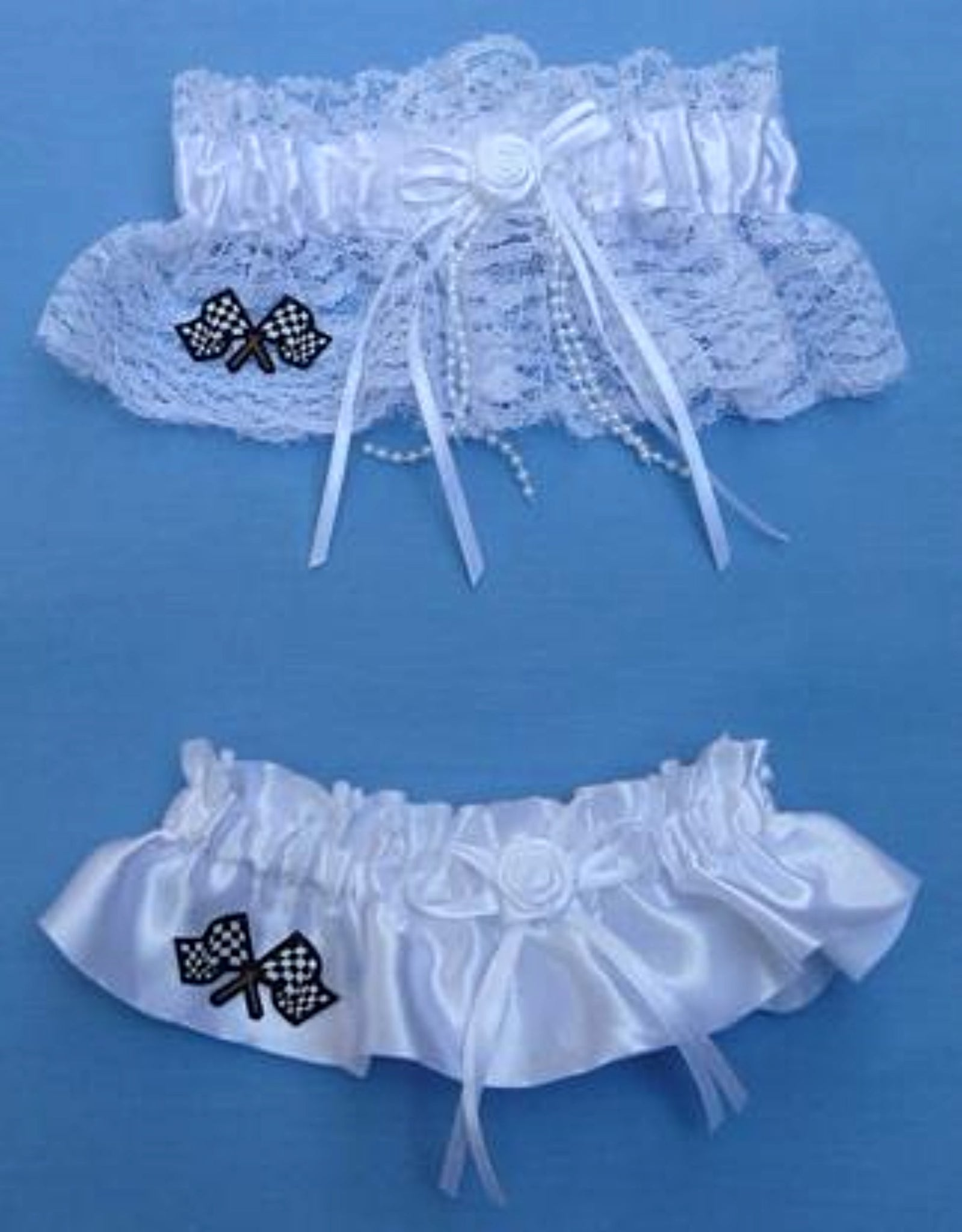 Checkered flag wedding garter racing car NASCAR sports racer fans funny lace satin reception toss keepsake Fun Wedding Things sports
