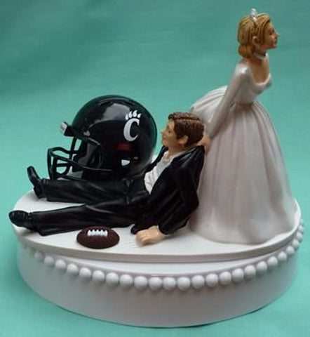 University of Cincinnati UC Bearcats football wedding cake topper sports fans funny groom's cake top humorous bride dragging groom Cincy unique reception gift Fun Wedding Things