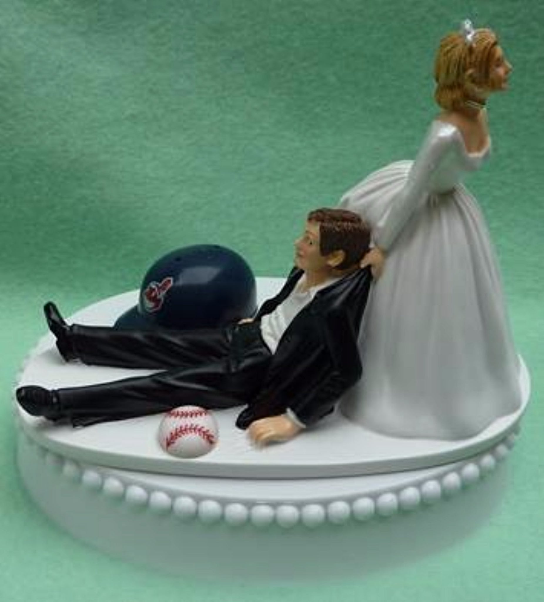 Cleveland Indians wedding cake topper MLB baseball sports fans fun bride drags groom humorous funny