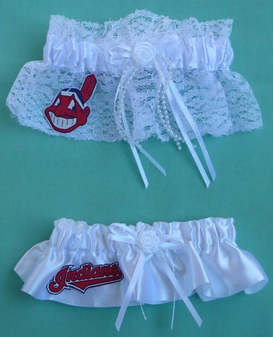 Cleveland Indians Garter Wedding Garters Bridal Set Bride Groom MLB Baseball Sports Fans Fun
