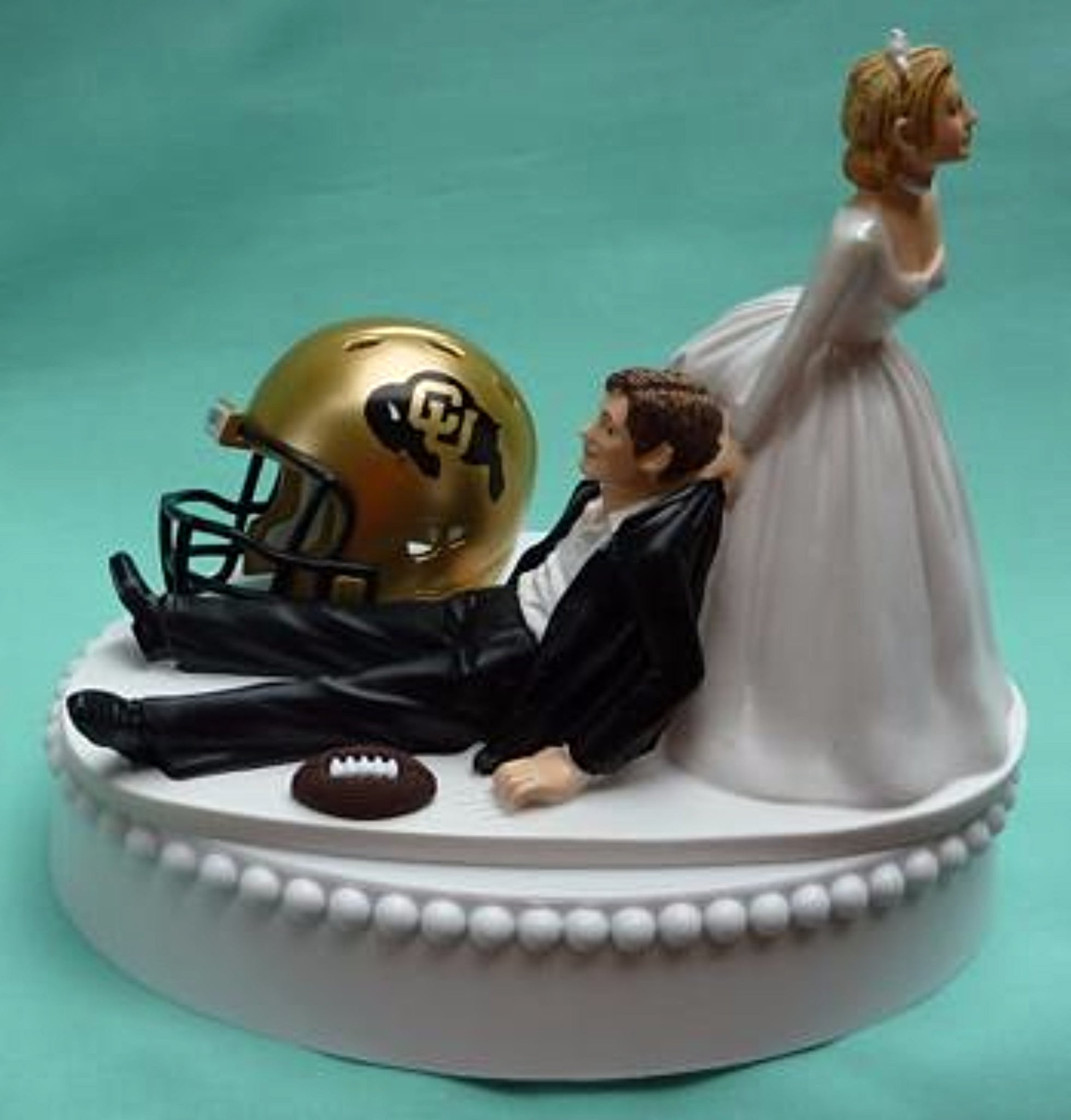 University of Colorado Buffaloes wedding cake topper CU Buffs football groom's cake top humorous bride dragging groom funny reception gift Fun Wedding Things