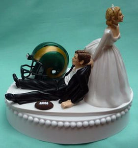 Colorado State CSU wedding cake topper Colorado St. University Rams football themed sports fans funny bride dragging groom humorous reception gift Fun Wedding Things